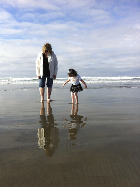 Chellie & Sofia at the Oregon Coast Beach
